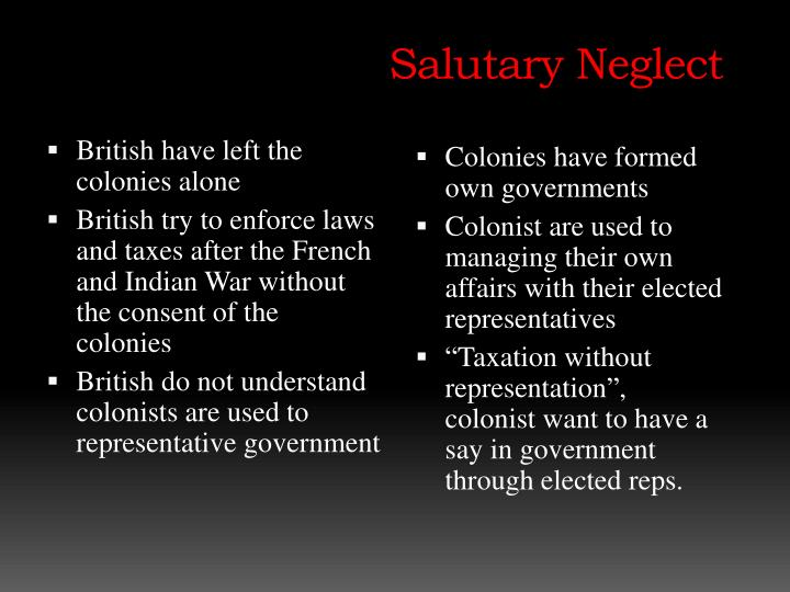 salutary neglect essay essay Salutary neglect contributed by james henretta salutary neglect was britain's unofficial policy, initiated by prime minister robert walpole, to relax the enforcement of strict regulations, particularly trade laws, imposed on the american colonies late in the seventeenth and early in the eighteenth centuries.