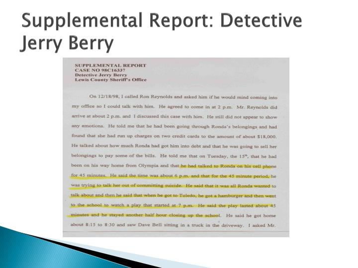 Supplemental Report: Detective Jerry Berry
