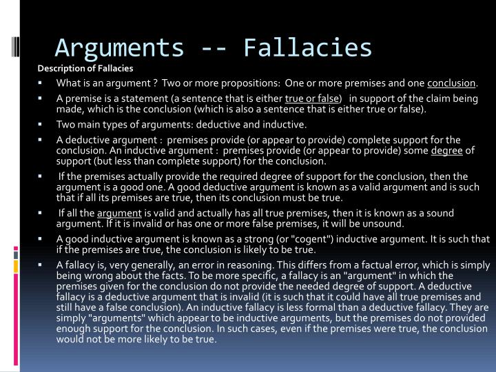 Arguments fallacies