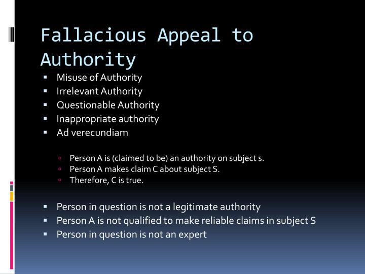 Fallacious Appeal to Authority