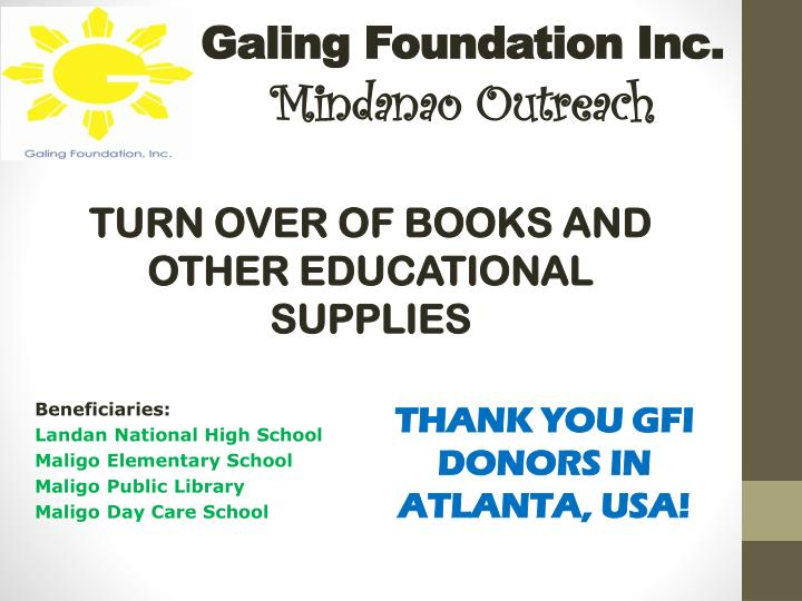 galing foundation inc mindanao outreach n.