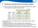 summary results from the case studies