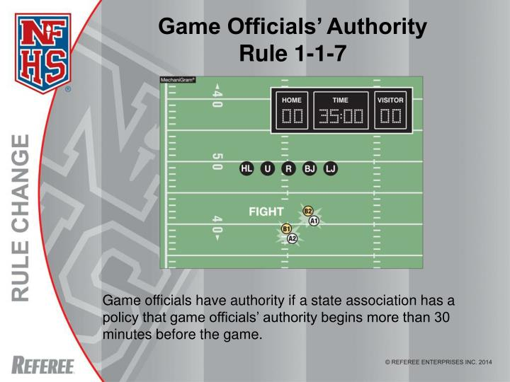 Game officials authority rule 1 1 7