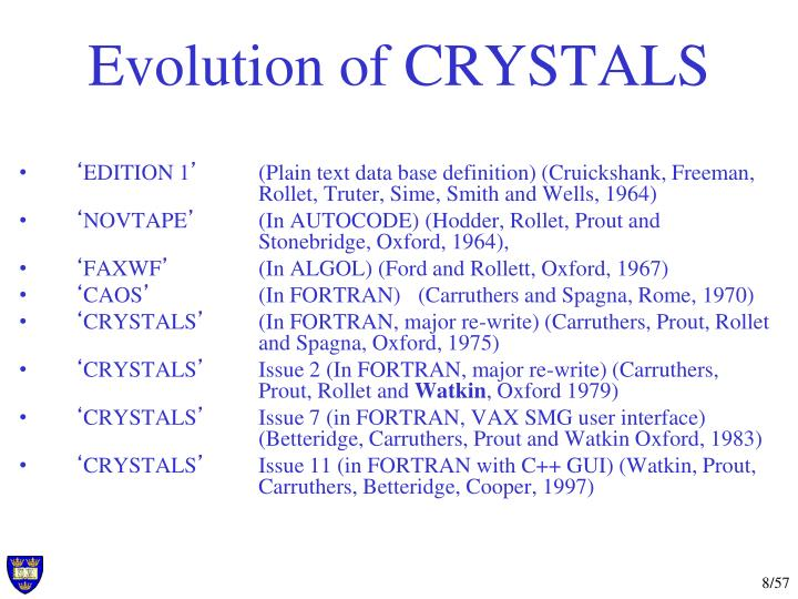 Evolution of CRYSTALS