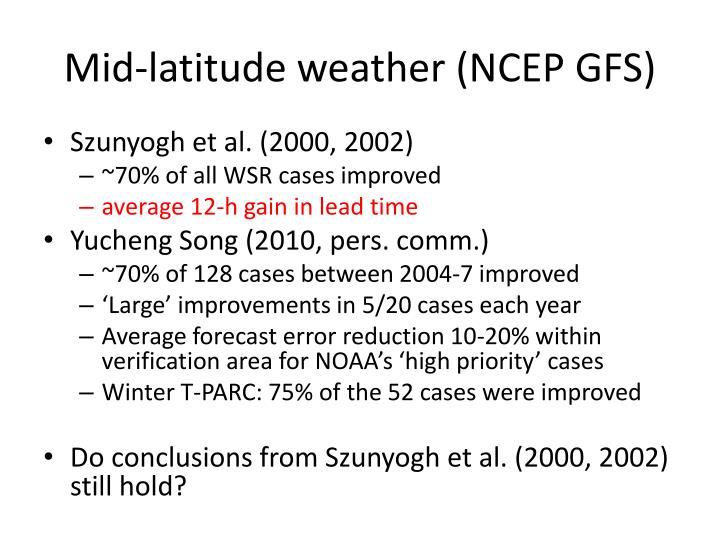 Mid-latitude weather (NCEP GFS)