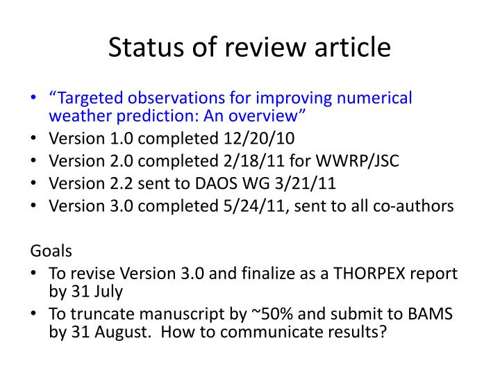 Status of review article