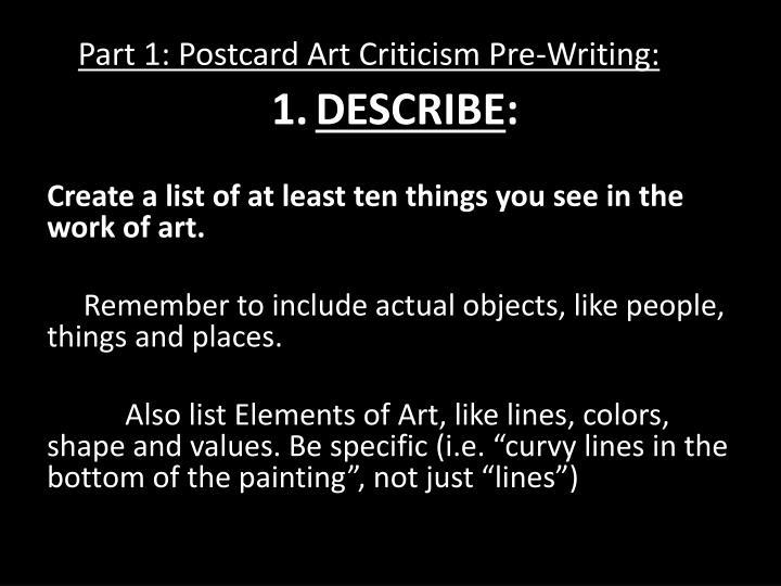 Part 1: Postcard Art Criticism Pre-Writing: