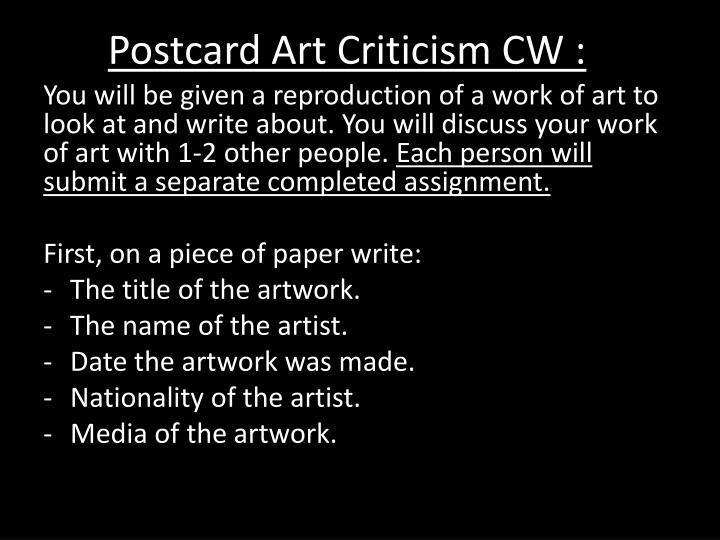 Postcard Art Criticism CW :