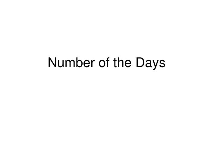 Number of the days