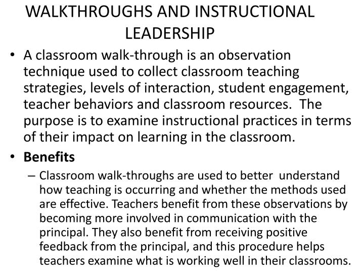 Ppt Instructional Leadership Classroom Walkthroughs Powerpoint