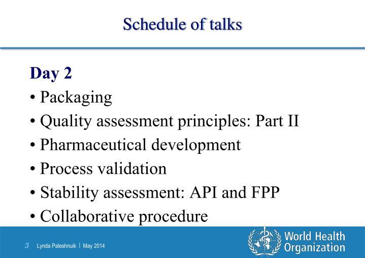 Schedule of talks1