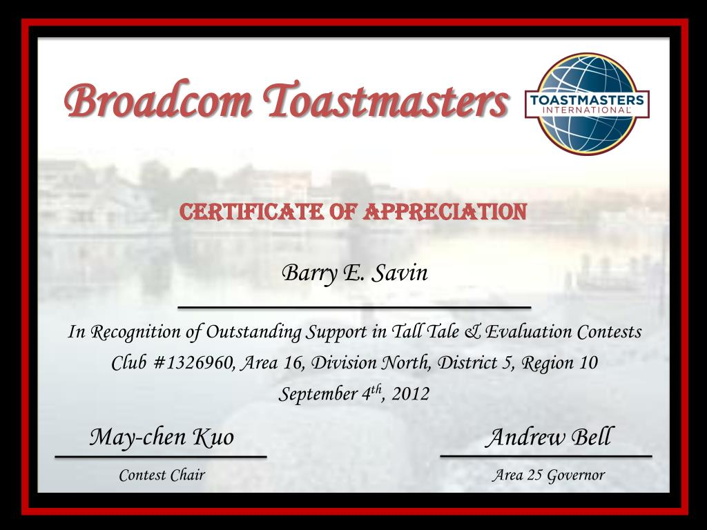 Ppt Broadcom Toastmasters Powerpoint Presentation Id2500263