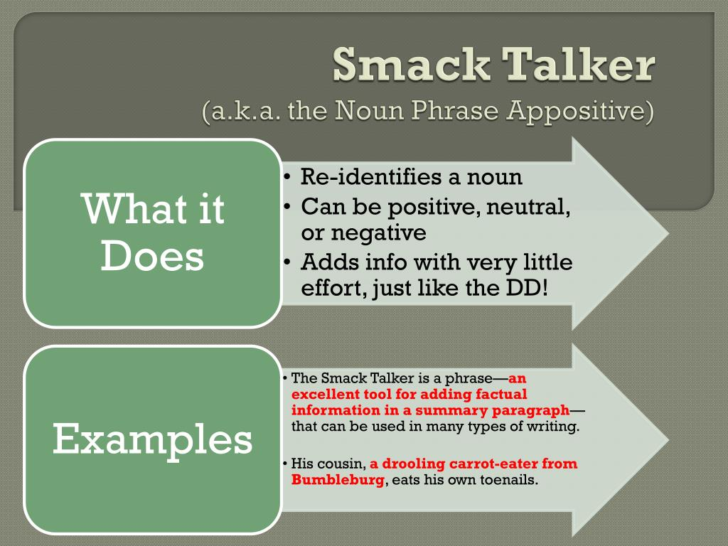 ppt smack talker a k a the noun phrase appositive powerpoint