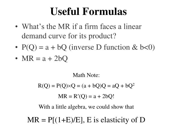 Useful Formulas