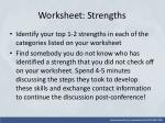 worksheet strengths