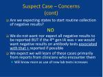 suspect case concerns cont