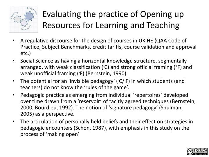 Evaluating the practice of Opening up Resources for Learning and Teaching