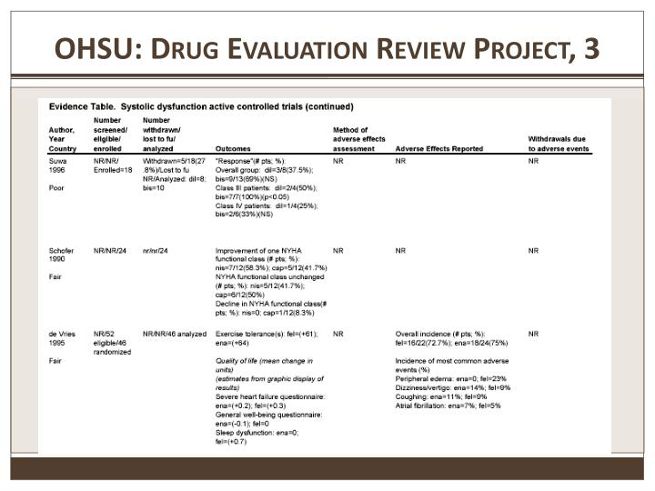 OHSU: Drug Evaluation Review Project, 3