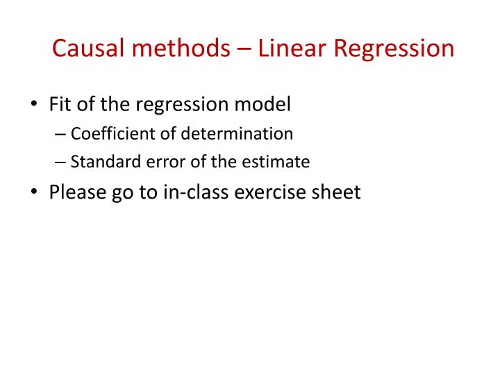 Causal methods – Linear Regression