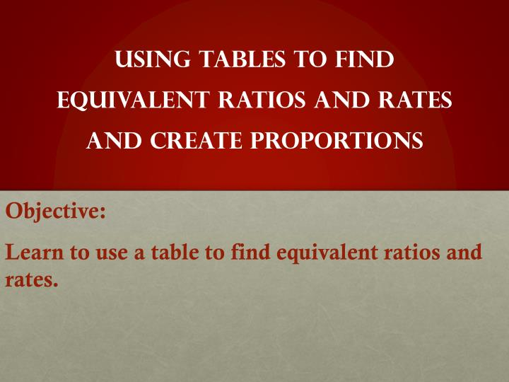 using tables to find equivalent ratios and rates and create proportions