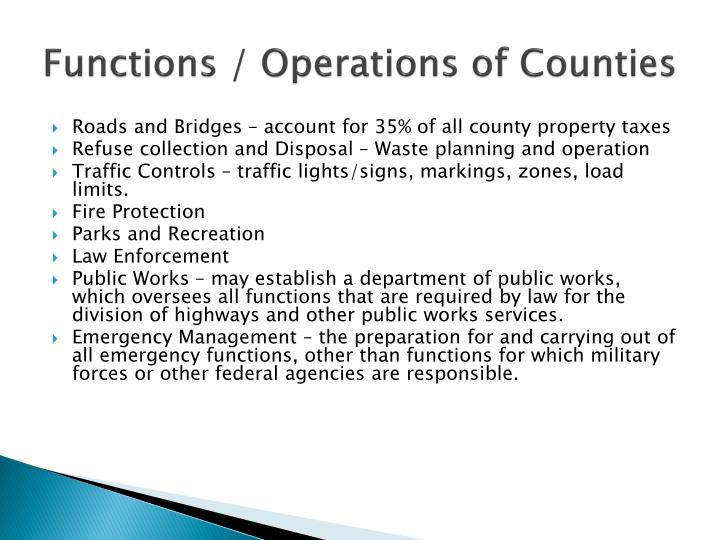 Functions / Operations of Counties