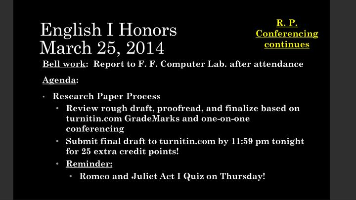 English i honors march 25 2014