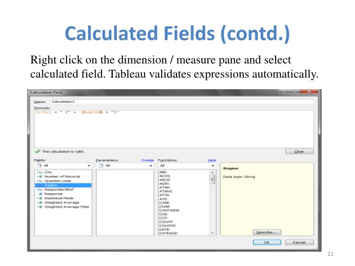 Calculated Fields (contd.)
