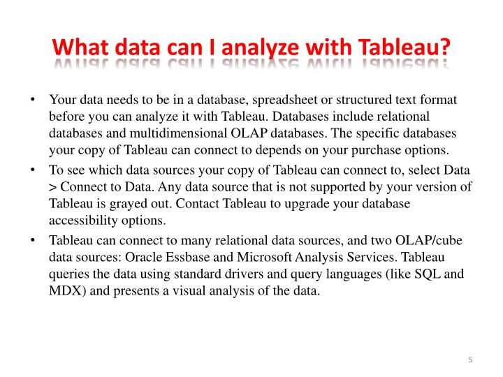 What data can I analyze with Tableau?