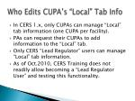 who edits cupa s local tab info