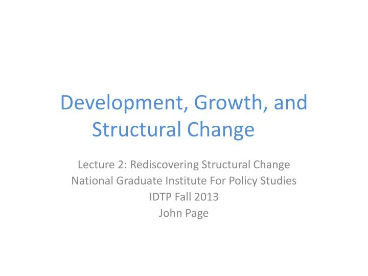 development growth and structural change n.