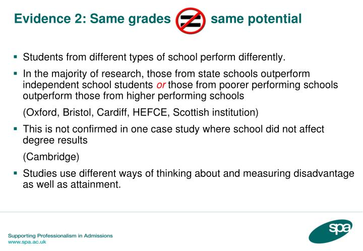 Students from different types of school perform differently.