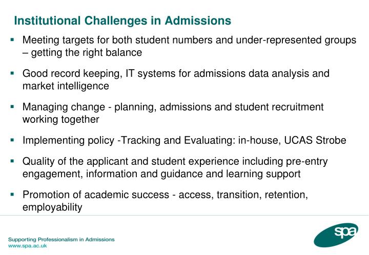 Institutional Challenges in Admissions