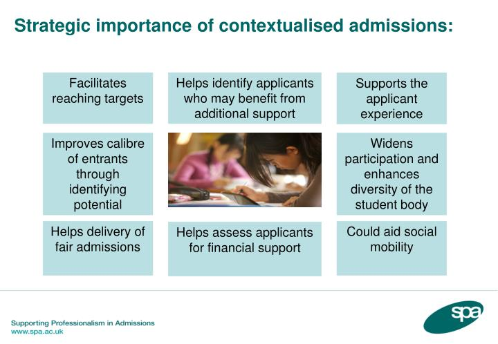 Strategic importance of contextualised admissions: