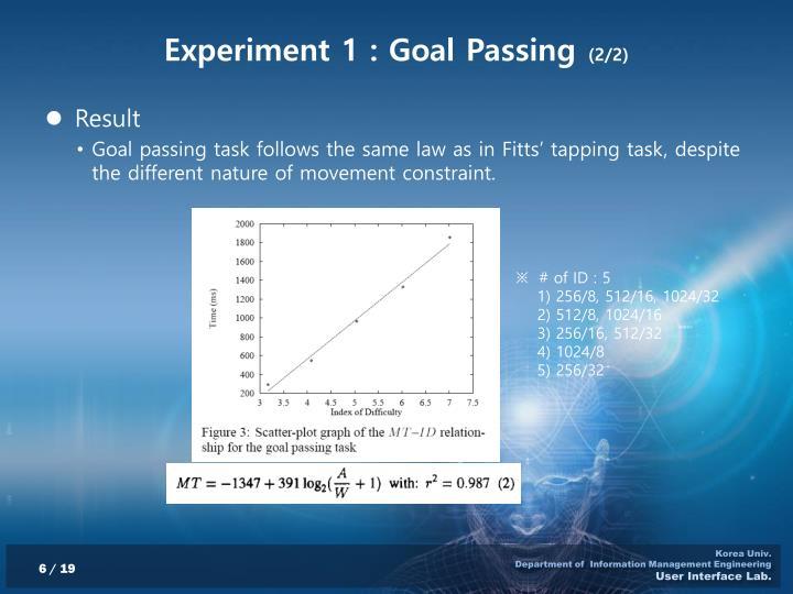 Experiment 1 : Goal Passing