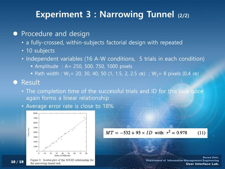 Experiment 3 : Narrowing Tunnel