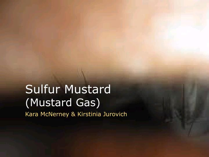 sulfur mustard mustard gas Sulfur mustard, commonly known as mustard gas, is the prototypical substance of the sulfur-based family of cytotoxic and vesicant chemical warfare agents known as the sulfur mustards which have the ability to form large blisters on exposed skin and in the lungs[2] they have a long history of use as a.