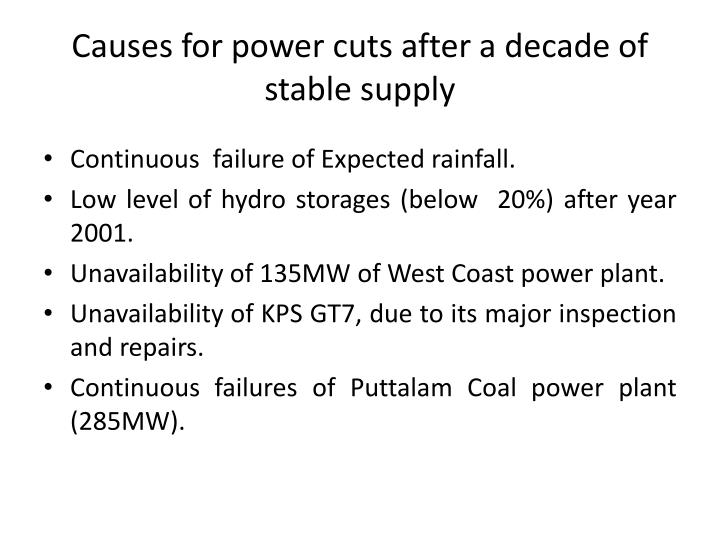 Causes for power cuts after a decade of stable supply