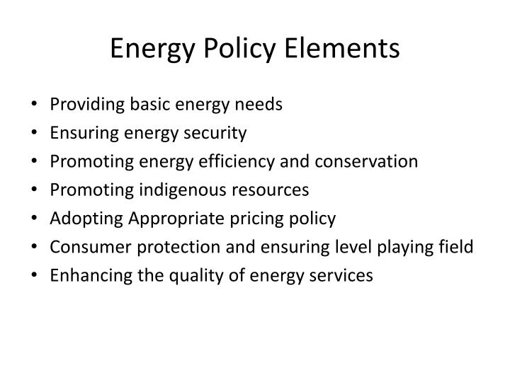 Energy Policy Elements