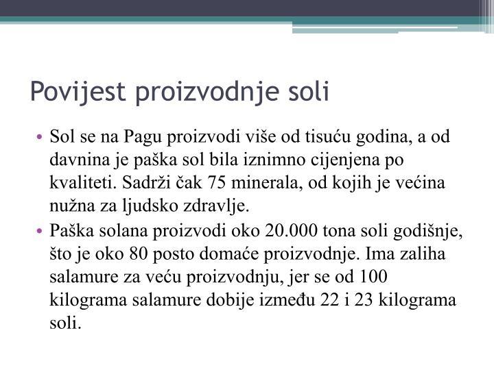 Povijest proizvodnje soli