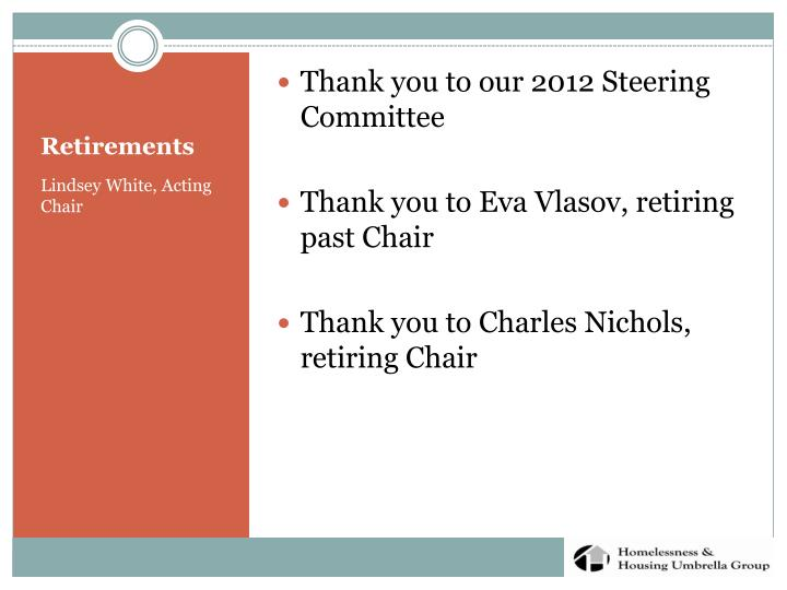 Thank you to our 2012 Steering Committee