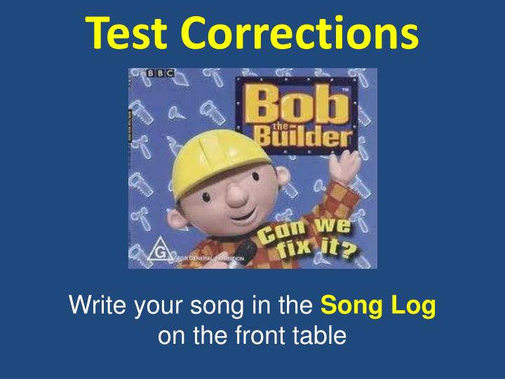 test corrections n.