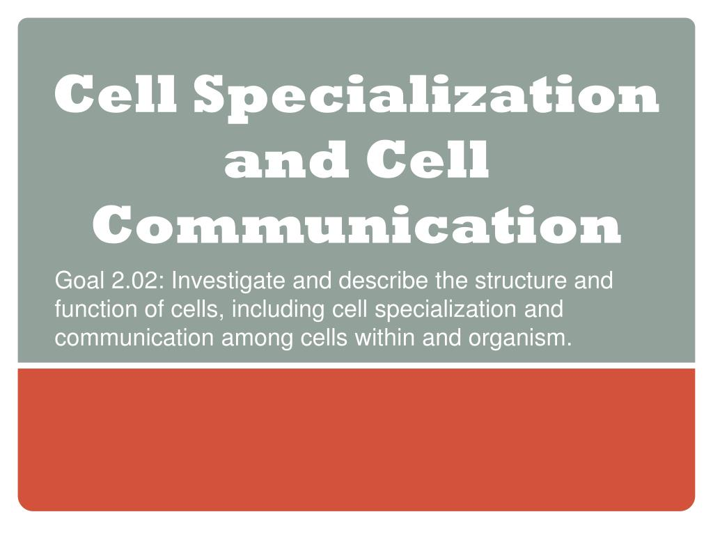 Ppt Cell Specialization And Cell Communication Powerpoint