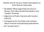 another key for success public participation or joint venture ownership