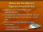 show me the money tips on financial aid