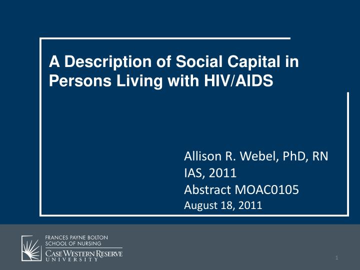 A Description of Social Capital in Persons Living with HIV/AIDS