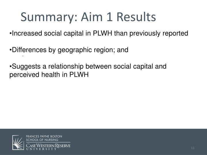 Summary: Aim 1 Results