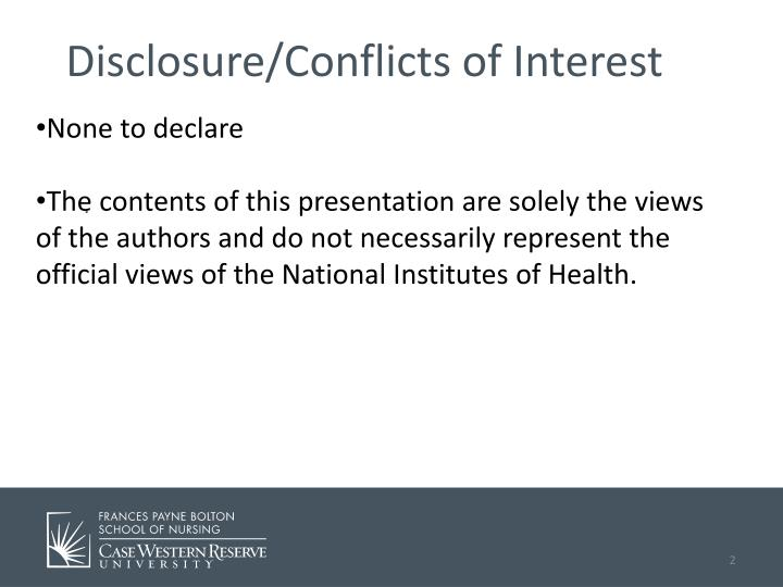Disclosure/Conflicts of Interest