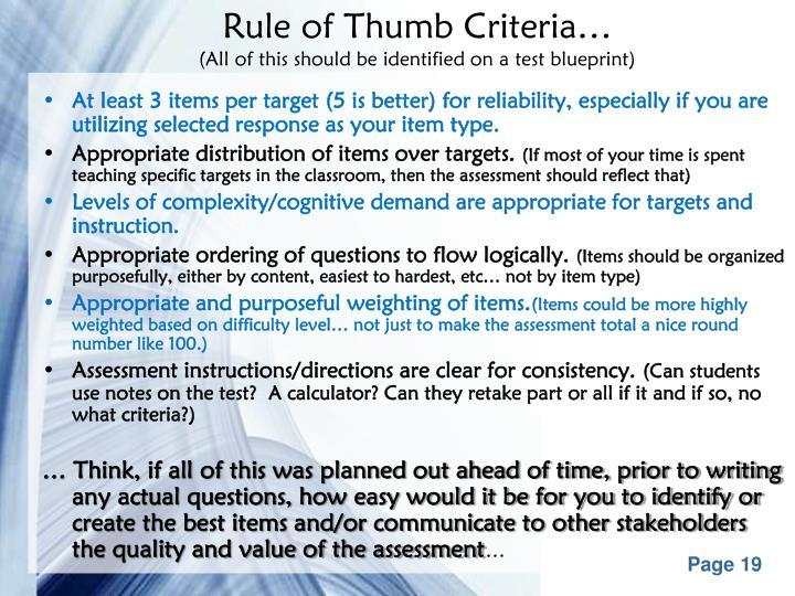 Rule of Thumb Criteria…
