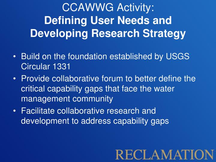 CCAWWG Activity: