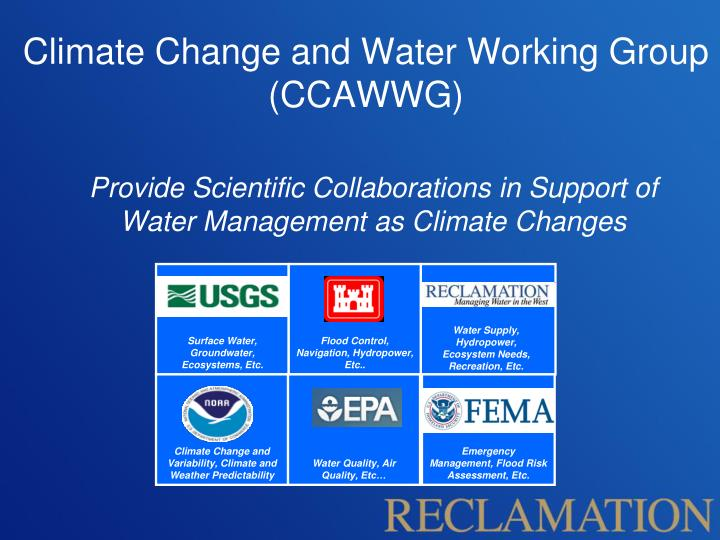 Climate Change and Water Working Group